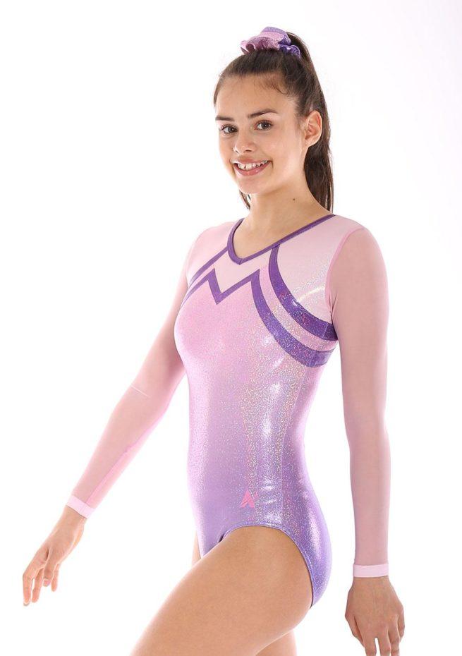 Maliya K456 mesh sleeve gymnastics leotards pink leotards for girls