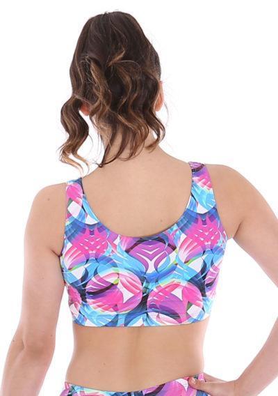 Motion patterned crop top sports bra back
