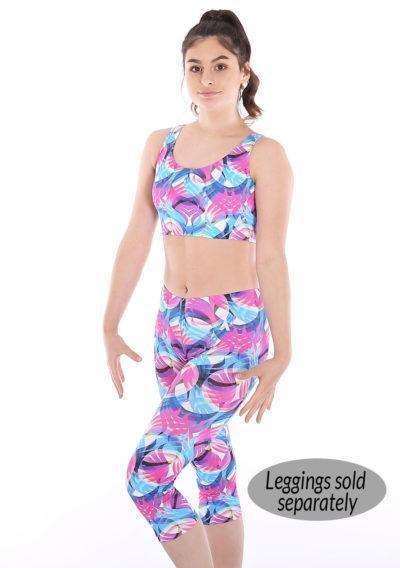 Motion patterned crop top sports bra set