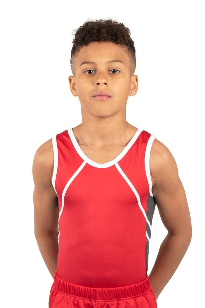 NOAH BVZ26 RED AND GREY BOYS SIDE DETAIL LEOTARD FRONT