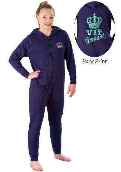ONE 02 VIP G42 navy girls gymnastics onesie front