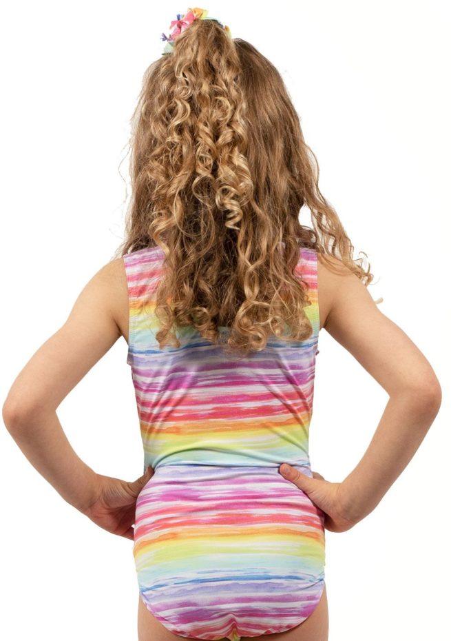 PASTEL SUNRISE SP L150 Rainbow patterend gymnastics training leotard back