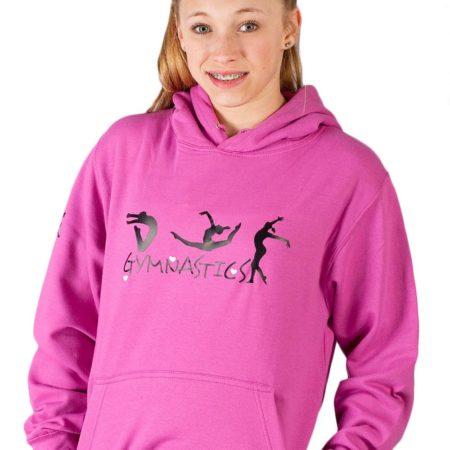 PTH 05 01GYMN pink hoodie with gymnastics print