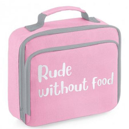 Pink lunch bag with white print