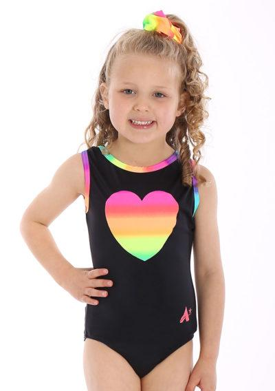 Rainbow Z431 Black lycra leotard with Rainbow heart detail front