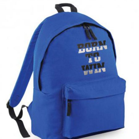 Royal Blue backpack with motivational print
