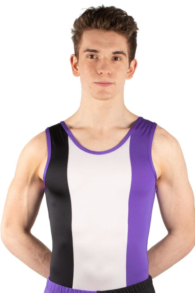 SCOTT BV487 Bright boys gym leotard black white purple front