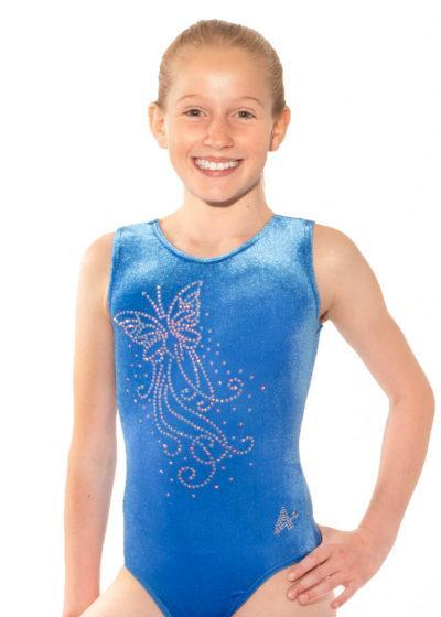 SPF23 D66 royal blue velour gym leotard front