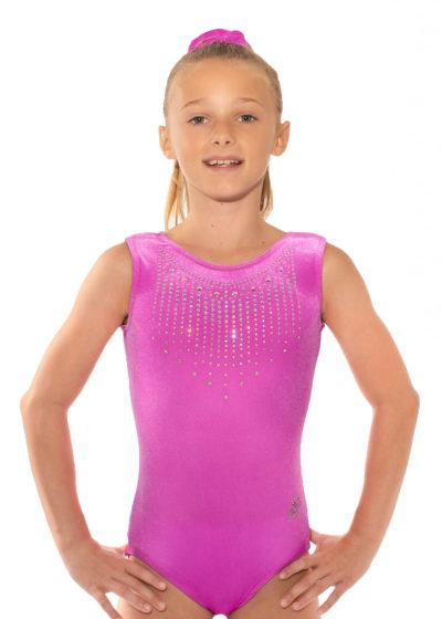 SPF45 D41 pink velour sleeveless gymnastics leotard front