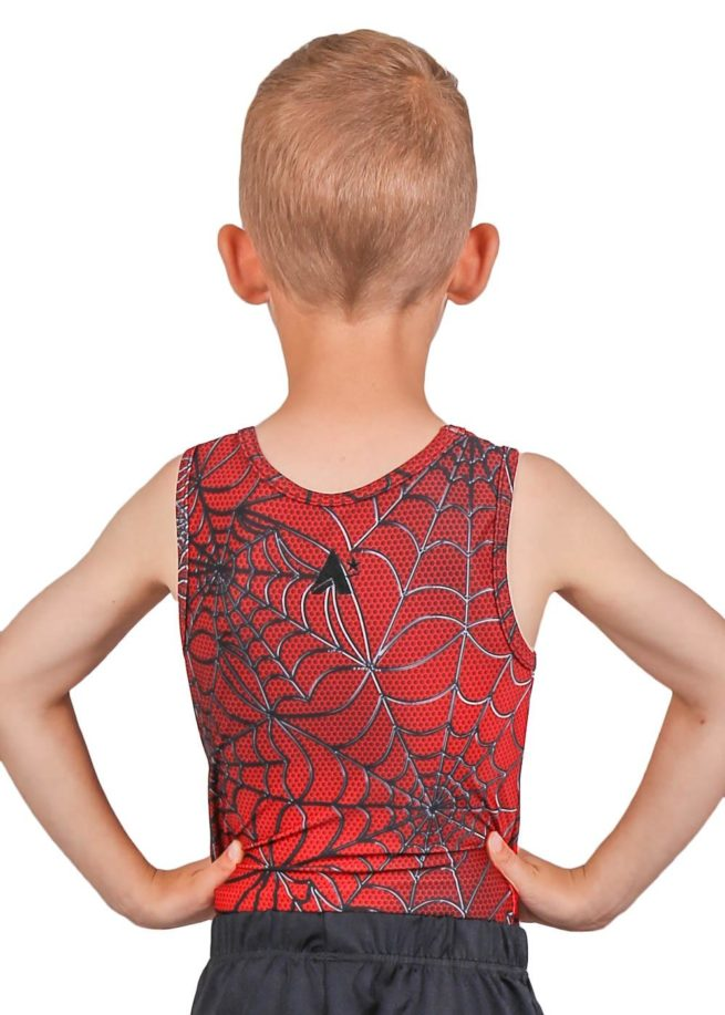 SPIDER BV L114 Boys red patterned leotard back