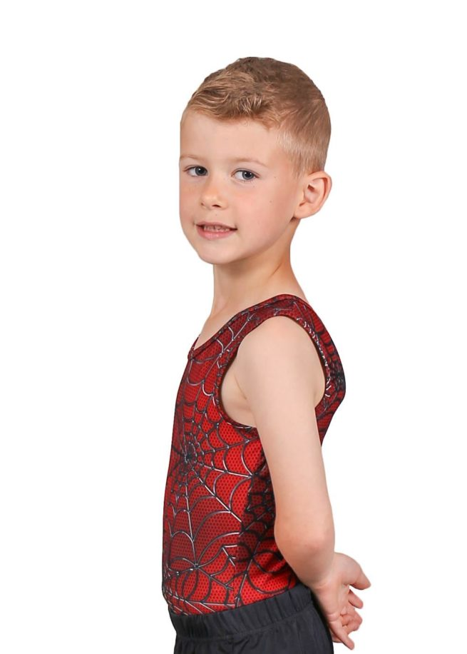 SPIDER BV L114 Boys red patterned leotard side