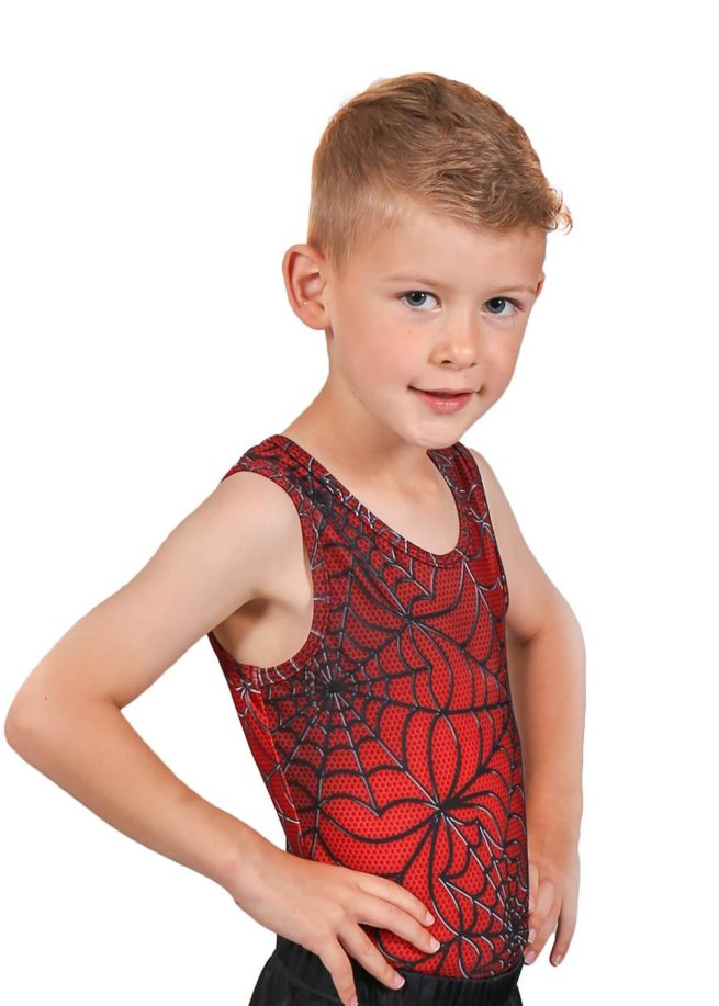 SPIDER BV L114 Boys red patterned leotard side1