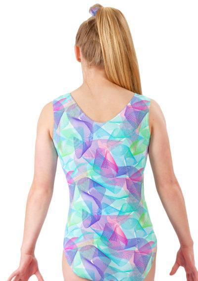 SPIROGRAPH SP L170 Pink and Blue patterened sleeveless leotard back