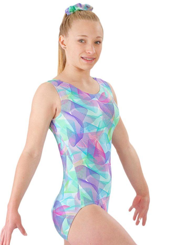 SPIROGRAPH SP L170 Pink and Blue patterened sleeveless leotard side