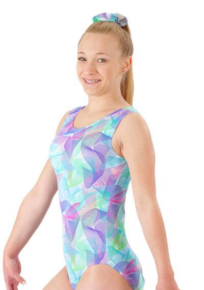 SPIROGRAPH SP L170 Pink and Blue patterened sleeveless leotard side1