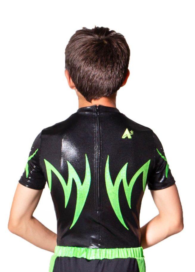 TAYLOR BSA262 Black and green boys zipped back leotard back