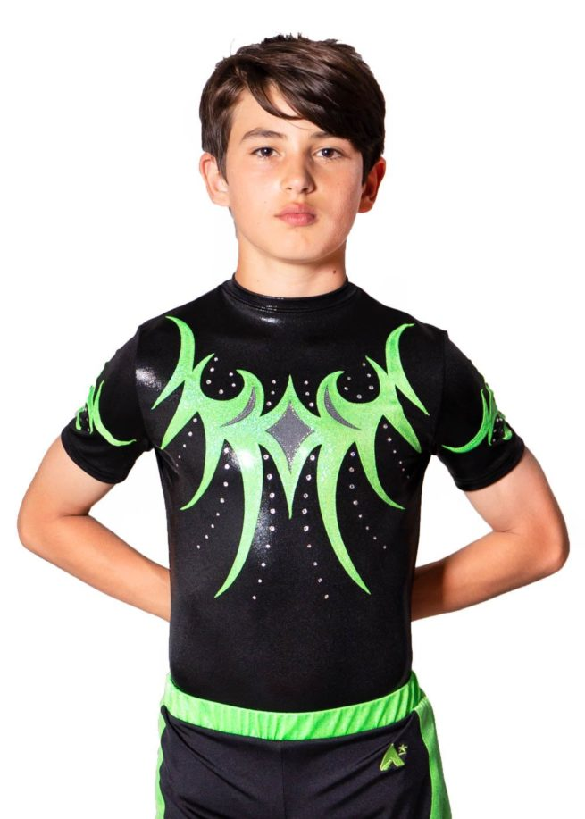 TAYLOR BSA262 Black and green boys zipped back leotard front