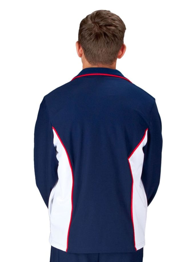 TS12B NAVY WHITE AND RED MENS TRACKSUIT JACKET BACK