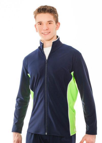 TS12B Navy Flo Green Mens Tracksuit Jacket front