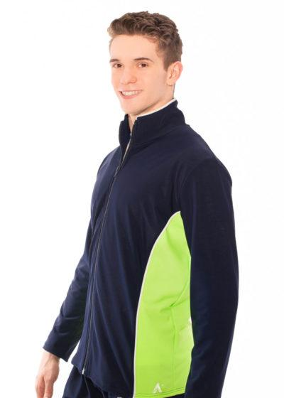 TS12B Navy Flo Green Mens Tracksuit Jacket side