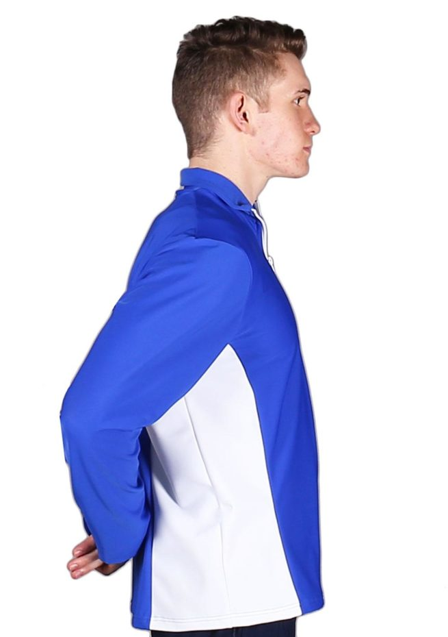 TS12B Royal Blue and White Mens Tracksuit jacket side