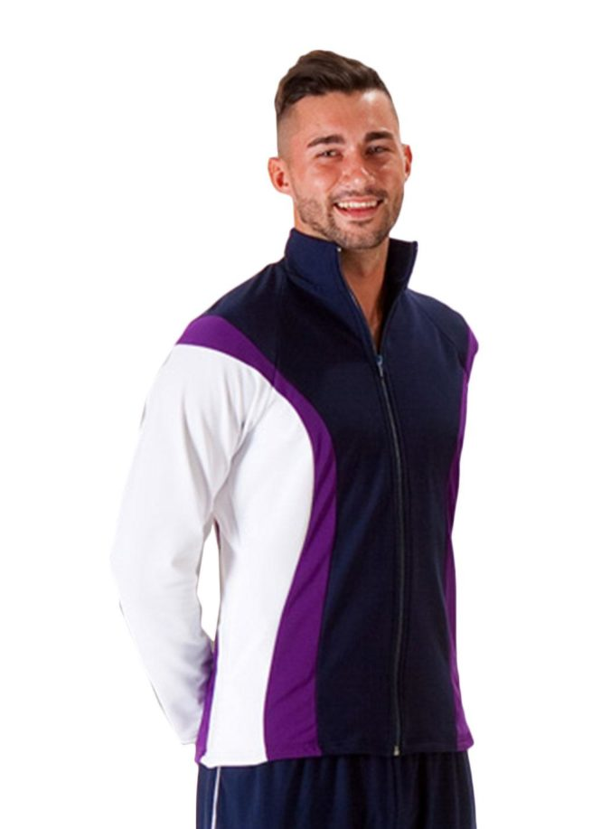 TS17B Navy purple and White mens tracksuit jacket