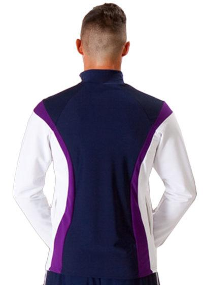 TS17B Navy purple and White mens tracksuit jacket back