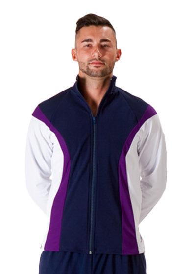TS17B Navy purple and White mens tracksuit jacket front