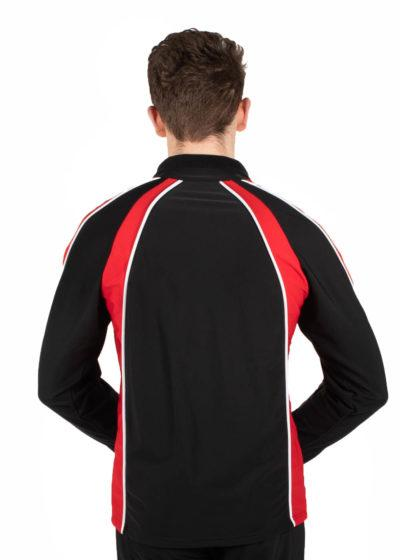 TS19B Mens Black and Red sports tracksuit jacket back