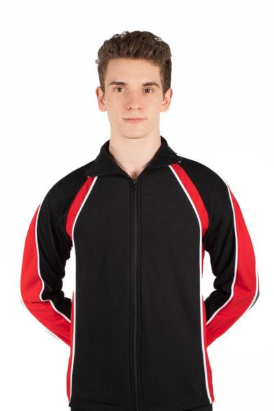 TS19B Mens Black and Red sports tracksuit jacket front