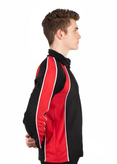 TS19B Mens Black and Red sports tracksuit jacket side1