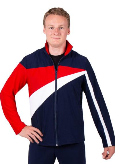 TS20B Navy Red and White mens striking Tracksuit jacket front