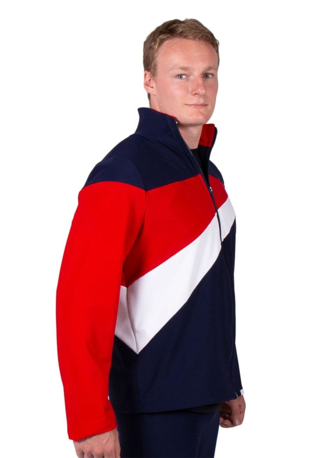 TS20B Navy Red and White mens striking Tracksuit jacket side