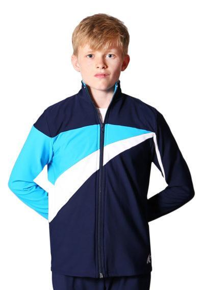 TS20B Navy White and Blue tracksuit jacket for gymnastics front