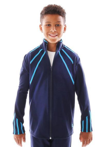 TS40B Navy tracksuit with blue lines main