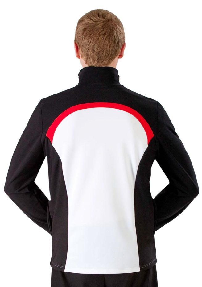 TS44B Male white tracksuit with Black Sides and Red details back