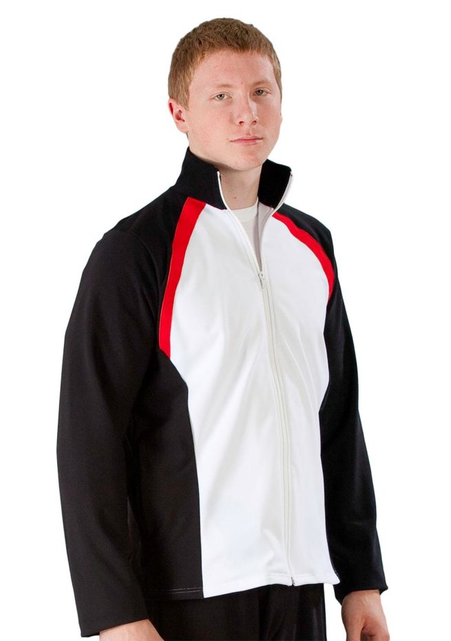 TS44B Male white tracksuit with Black Sides and Red details side