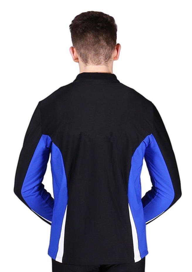 TS57B Black White and Royal mens tracksuit jacket back