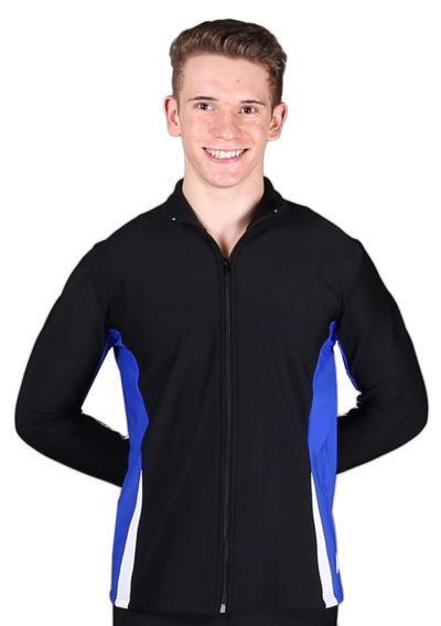 TS57B Black White and Royal mens tracksuit jacket front