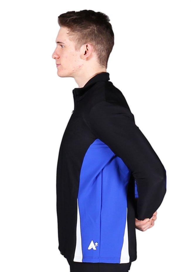 TS57B Black White and Royal mens tracksuit jacket side1