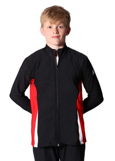 TS57B Black red and white boys tracksuit jacket