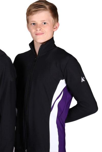 TS64B Boys black purple and white tracksuit jacket front