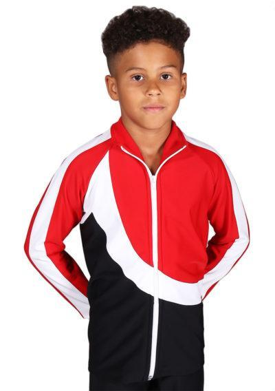 TS65B Boys Black White and Red tracksuit front