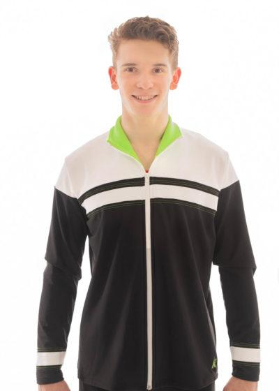 TS68B Black White Green Boys sports tracksuit front