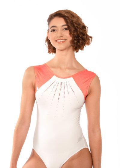 Z365 Madison open back orange leotard with diamante front1