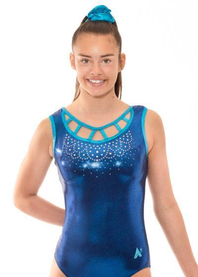 Z458 Iris navy blue Open Neck Leotard with diamante front