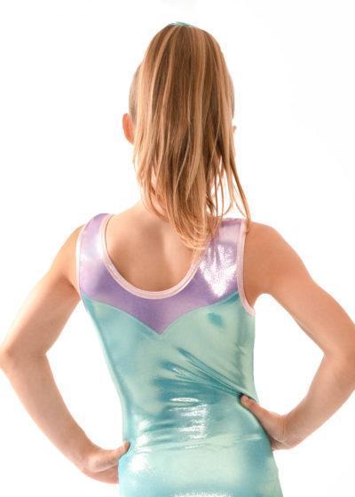 Z497 Dulcie mermaid and pink sleeveless girls leotard back