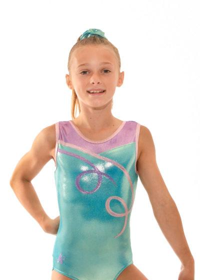 Z497 Dulcie mermaid and pink sleeveless girls leotard front