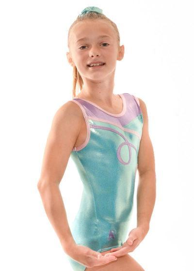 Z497 Dulcie mermaid and pink sleeveless girls leotard side