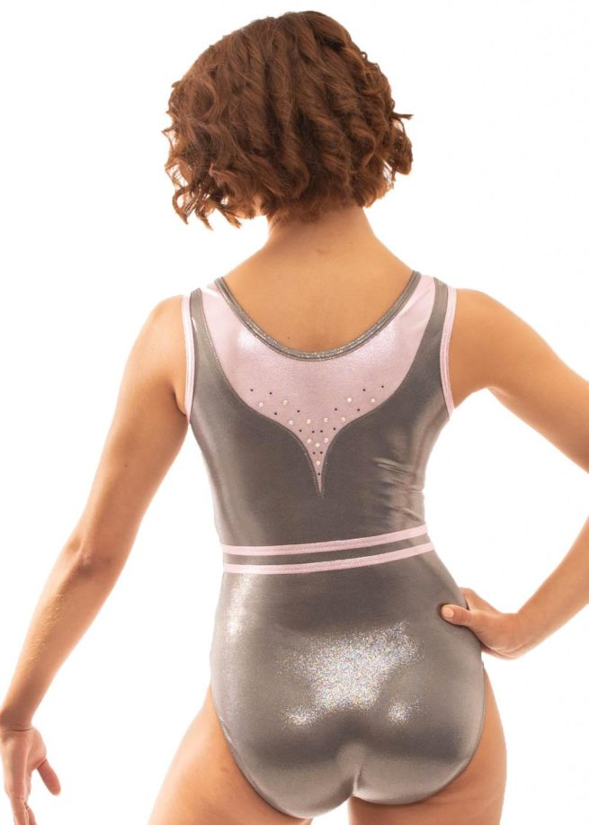 Z519 Candra Pink and Grey Sleeveless Leotard back